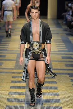 Versace Men's RTW Spring 2013. Oh my vodka.  Finally, a collection from Donatella that would make big bro proud.  This is Versace's Versace and I for one have missed it.