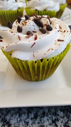 Chantilly cream decoration with chocolate chips
