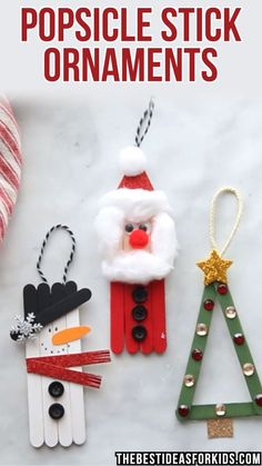 kids crafts for toddlers kinderhandwerk POPSICLE STICK CHRISTMAS ORNAMENTS - these popsicle stick ornaments for Christmas are so fun to make! Kids can make a snowman, Santa or Christmas tree. A perfect Christmas craft for kids! Popsicle Stick Christmas Crafts, Christmas Ornament Crafts, Diy Christmas Gifts, Christmas Art, Christmas Projects, Simple Christmas, Popsicle Sticks, Christmas Videos, Christmas Tree Decorations For Kids