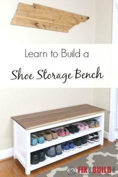 DIY Entryway Shoe Storage Bench You can build this DIY Entryway Bench with Shoe Storage and organize your house. Detailed plans and a full video walkthrough are available for this project. Build A Shoe Storage Bench, Kids Shoe Storage, Shoe Storage Bench Entryway, Bedroom Storage, Storage Ideas, Dog Storage, Hallway Bench, Storage Benches, Craft Storage