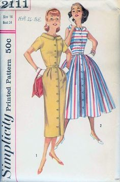 Simplicity 2111; ©1957; Jr. Misses' and Misses' One-Piece Dress with Two Skirts
