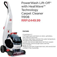 Clean whole rooms and fight stains anywhere with the BISSELL Lift-Off™ carpet cleaner. This unit gives you the power of an upright carpet cleaner and the convenience of a removable cleaner. The easy-to-detach portable spot cleaner is great for spots and stains on your stairs, upholstery, and even auto interiors.
