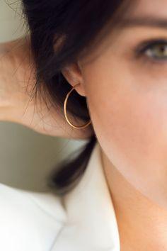 Real 14K Gold Hoop Earrings 100% Handmade , Dainty Hoop Earrings , Minimalist Gold Hoops , Gold Hoop Earrings Medium Sized Silver Hoop Earrings, Diamond Earrings, Dainty Earrings, Swept Back Hair, Aquamarine Rings, Gold Wire, Minimalist Earrings, Silver Hoops, Solid Gold