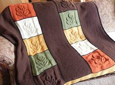 Autumn Leaves Knit Afghan by DawnStitch on Etsy  orange yellow beige green brown   knitting