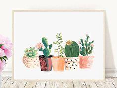 Cactus Print Printable Art Cactus Art Home by PaperStormPrints