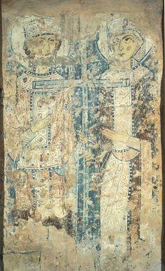 Константин и Елена Вторая половина XI в. Собор Святой Софии, Новгород Фреска в южной галерее.