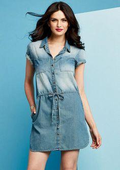 Amy Short-Sleeve Denim Dress