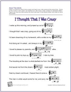 I Thought That I Was Crazy | Treble Clef Note Name Worksheet - http://makingmusicfun.net/htm/f_printit_free_printable_worksheets/i-thought-that-i-was-crazy-note-name-worksheet.htm