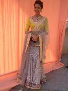 Love this yellow and grey lehenga