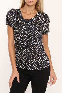 Costa Blanca Front Bow Polka Dot Top In Asst - Beyond the Rack