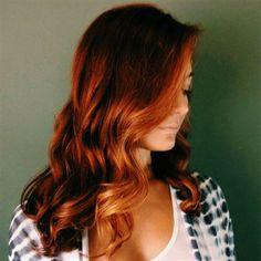 Copper-Kissed Auburn Balayage... This is work by my stylist, Scarlett!! Fo realz! She did my hair for my wedding! AMAZING!