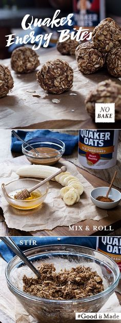 Quaker®️️ Peanut Butter Banana Energy Bites are a great snack for after school, a quick pick-me-up, or even after hours at work. With just 5 ingredients and 10 minutes of your time, you can make a snack that everyone in the family can enjoy.