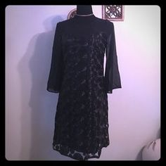 Muse Dresses & Skirts - NWT MUSE SHEER BELL SLEEVE TEXTURE BLACK DRESS 4