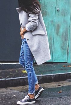 Grey coat blue denim jeans and black shoes casual winter