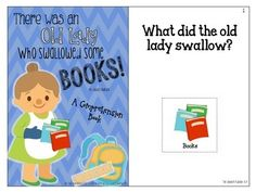 There Was An Old Lady Who Swallowed Some Books: Interactive Comprehension Book for English Language Arts or your Speech Therapy classroom! Easy to use activities and printables for Literacy Centers. #SLP #SpeechTherapy #ELA #SpEd #TpT #OldLady #ReadingComprehension