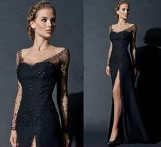 Free shipping, $106.81/Piece:buy wholesale  New Fashion Long Sleeve Evening Gown Sequins Scoop Sexy Black Lace Side Slit Full Length Celebrity Dresses Hot Sale High Quality of 2015 Spring Summer,Su Zhou,China(Mainland),Reference Images,Chiffon,Modern from DHgate.com, get worldwide delivery and buyer protection service.