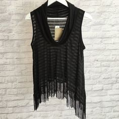 Striped Fringe Top Black and dark grey striped fringe turtleneck top! Very light and flowy. Mustard Seed Tops