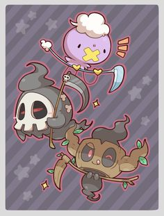 Drifloon, Duskull, and Phantump Dark Type Pokemon, Ghost Type Pokemon, Mega Pokemon, Pokemon Pins, Pokemon Images, Cute Pokemon, Pokemon Stuff, Random Pokemon, Pokemon Cards