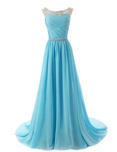 Eudolah Damen Abendkleider Elegant Ballkleider lang Maxi Bunte Kleider Hellblau Gr.6