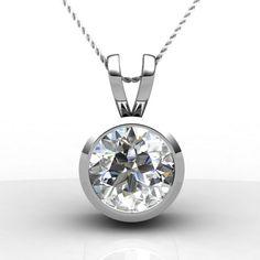 Bezel Set Round Solitaire Diamond Pendant