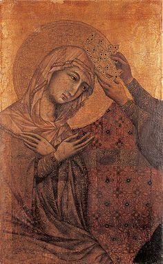Duccio (Siena c 1255 -. 1319 Siena), l'Incoronazione della Vergine (frammento), tempera su tavola, 51,5 x 32 cm. Collezione di Dipinti antichi, inv. n. 16. Museo di Belle Arti di Budapest © Museo delle Belle Arti