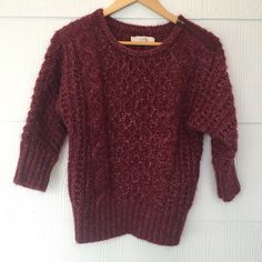 Loft Burgundy Sweater with Shoulder Zipper This sweater is SO soft, I'm in the fence about letting go. Thick knit soft fabric with adorably edgy exposed zipper at the shoulder. Pair this with anything and you will rock it! LOFT Sweaters Crew & Scoop Necks
