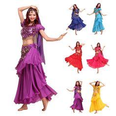 2016 3 Layers Falda Flamenco Skirt + Shiny Bells Crop Top +Veil +Belts  Bollywood