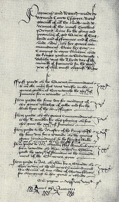 A document bearing the signature 'Anne the Quenen', written by Anne of Cleves during her short time  as Queen of England