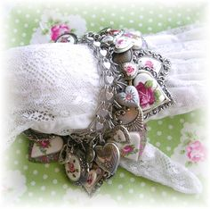 Guilloche Enamel Roses Charm Bracelet Pink White Silver Wedding Victorian Jewelry Spring Flowers