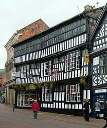 The Crown Hotel is a timber-framed, black-and-white hotel & public house located in the town of Nantwich in Cheshire, England. The present building da. Beautiful Buildings, Beautiful Places, Cheshire England, Public Hotel, British Architecture, The Great Fire, Tudor House, England Uk, British Isles