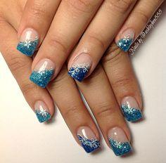 Blue glitter gel nails