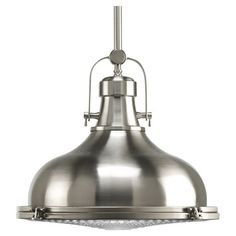 Highlighted by an industrial-chic shade and a brushed nickel finish, multiples of this handsome pendant can be lined above your kitchen island or breakfast b...