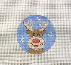 Red Nose Reindeer in Snow Handpainted Needlepoint by MarsyesShoppe