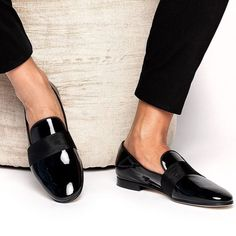 893bd1074d8 Glossy black Loafers Black Shoes