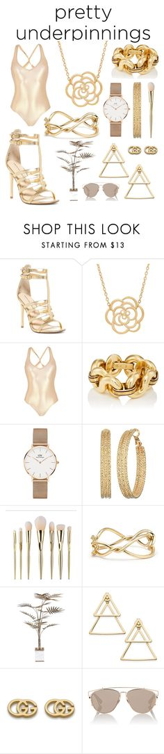 """""""Pretty underpinnings."""" by azaleaxox ❤ liked on Polyvore featuring Chinese Laundry, Lord & Taylor, George J. Love, Daniel Wellington, GUESS, David Yurman, Bella Loco, INC International Concepts, Gucci and Christian Dior"""