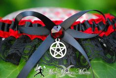 Handfasting Pagan Witch Wedding  Bridal Garter  Red Satin Black Lace with Red Prism Crystal  Pentacle Charm. $24.99, via Etsy.