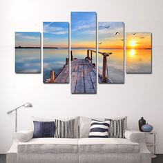 5 Panel Peaceful Lake Sunset Landscape Wall Canvas Art Beautiful Wooden Pier In Water Prints Set For Home Office No Frames,High Quality Painting & Calligraphy from Aliexpress