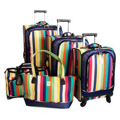 Jenni Chan Multi Stripes 5-piece Spinner Luggage Set - Overstock™ Shopping - Great Deals on Jenni Chan Five-piece Sets
