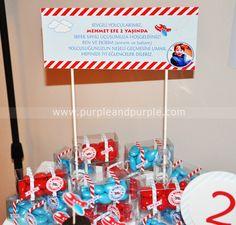 Uçak temalı 2 yaş doğum günü partisi hediyelikleri | Küçük Pilot Temalı Doğum Günü | Airplane Birthday Party Ideas | Purple & Purple