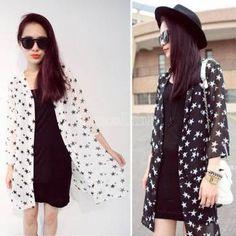 2014 новая Куртка Пальто кардиган кофточка летняя женщин звезда печати шифон Sunblock свободные рубашки