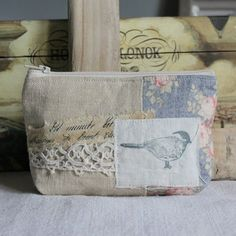 Antique linen small pouch with hand stamped bird by roxycreations