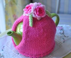 Hot Pink Tea Cosy with Quirky Pink Flowers and Squiggles