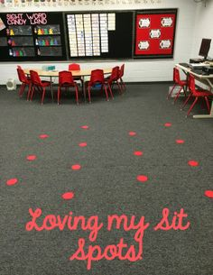 "Grade Snickerdoodles: Sit Spots: My Favorite Finds love this idea, another idea might be to take pictures of your kiddos and use their pictures as their ""sit spots"" on the floor Classroom Layout, Classroom Organisation, 2nd Grade Classroom, Classroom Behavior, Classroom Environment, Teacher Organization, Music Classroom, Preschool Classroom, Future Classroom"