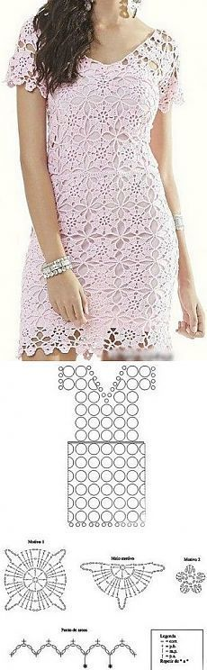 Vestidos a crochet Crochet Tunic, Filet Crochet, Crochet Motif, Crochet Designs, Crochet Clothes, Crochet Lace, Crochet Stitches, Crochet Patterns, Crochet Dresses