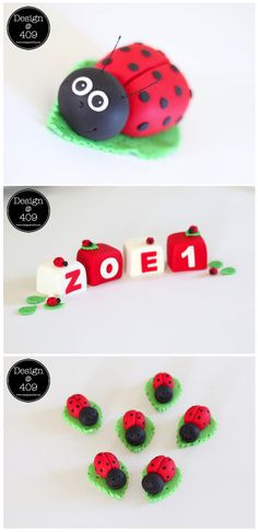 Ladybug and Block Cake Toppers. www.designat409.com