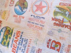 I've got quite a collection of old NZ flour bags, been thinking of making them into a quilt like this.