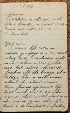 Titanic: Extract from Sidney's diary, 18 year old Sidney Daniels, crew