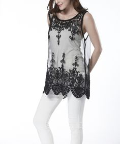 Love this Simply Couture Black Lace Sheer Sleeveless Tunic by Simply Couture on #zulily! #zulilyfinds