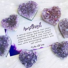 Amethyst Hearts 'Amethyst is especially supportive of the emotional body, bringing those who are overworked, overstressed, or overwhelmed back to center. It balances out your highs and lows, promoting emotional centering. This is a wonderful crystal to us Crystal Magic, Crystal Healing Stones, Crystal Grid, Amethyst Crystal, Crystal Palace, Amethyst Necklace, Purple Amethyst, Crystals Minerals, Crystals And Gemstones