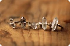 Herkimer Diamond Ring, Sterling Silver Rivet - Custom Stone, Sizing